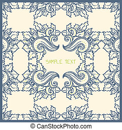 Floral card template blue and cream