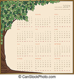 Yearly calendar 2014 in green tree frame