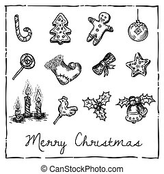 set of Christmas-themed elements