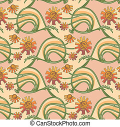 Floral seamless texture in art-nouveau style, camomile,...