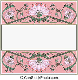 floral frame template in art-nouveau style