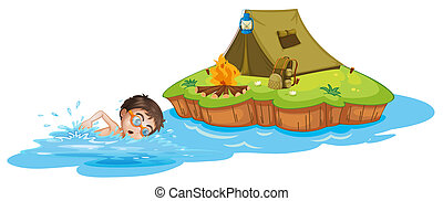A boy swimming going to the camping tent