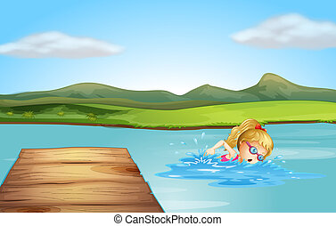 A girl swimming at the beach with a diving board
