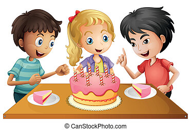 A table with cake surrounded by three kids - Illustration of...