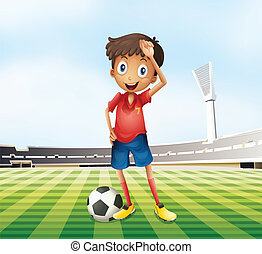 A male soccer player at the field - Illustration of a male...