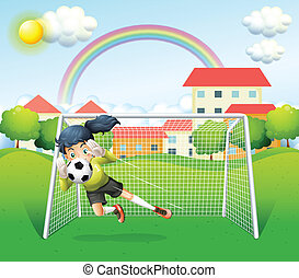 A sporty woman playing soccer - Illustration of a sporty...