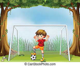 A little soccer player in his red uniform - Illustration of...