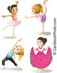 Girls in different sports attire - Illustration of the girls...