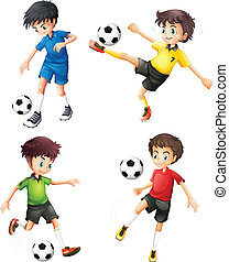 Four soccer players in different uniforms - Illustration of...