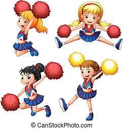 Four cheerdancers with their pompoms - Illustration of the...