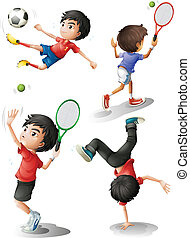 Four boys playing different sports - Illustration of the...