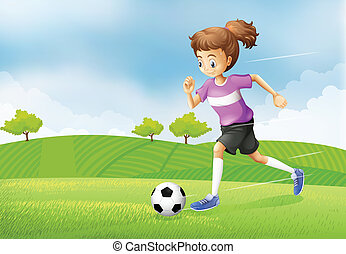 A girl playing soccer at the field - Illustration of a girl...