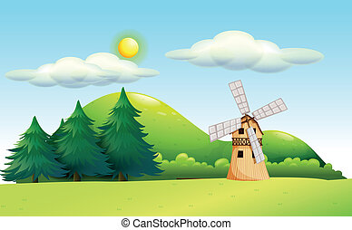 A windmill in the field - Illustration of a windmill in the...