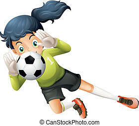 A girl catching the soccer ball - Illustration of a girl...