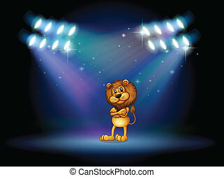 A lion standing at the stage with spotlights