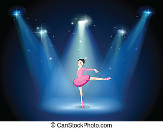 A lady in pink dancing ballet with spotlights - Illustration...