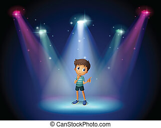 A boy acting at the stage with spotlights - Illustration of...