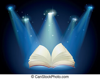 A book with spotlights