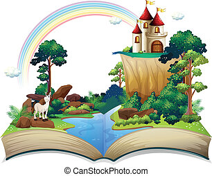 A book with a castle at the forest - Illustration of a book...