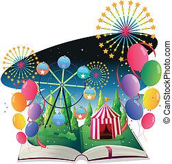 A book with an image of a carnival with balloons -...