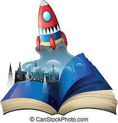 A book with an image of celltowers and a spaceship -...