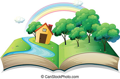 A book with a story of a house at the forest - Illustration...