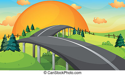 A long road with a sunset
