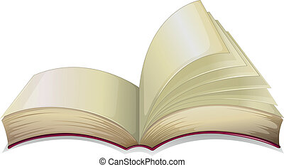 An empty open book - Illustration of an empty open book on a...