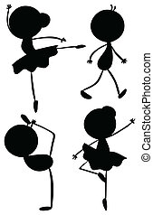 Silhouettes of a girl and a boy dancing - Illustration of...
