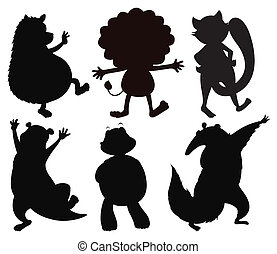 Silhouettes of different wild animals