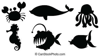 Sea creatures in black colors - Illustration of the sea...