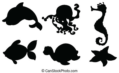 Silhouettes of the different sea creatures - Illustration of...