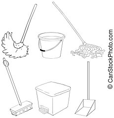Silhouettes of the different cleaning materials -...