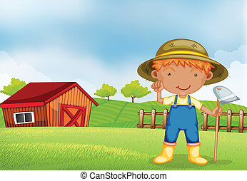A farmer holding a hoe - Illustration of a farmer holding a...