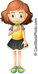 A young girl eating an ice cream - Illustration of a young...