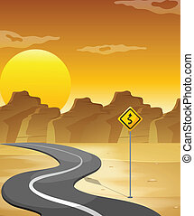 A curved road in the desert