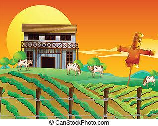 A farm with cows and a scarecrow - Illustration of a farm...