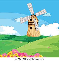 Um, moinho de vento, acima, colina