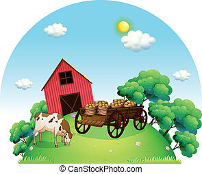 A cow and a carriage in front of a barn in the farm -...