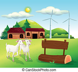 Two goats near the wooden signboards - Illustration of the...