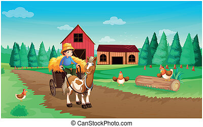 A farm with a farmer and his pets - Illustration of a farm...