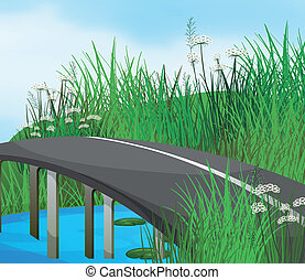 A curve road in the river - Illustration of a curve road in...