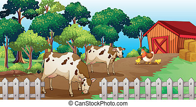 A farm with animals inside the fence - Illustration of a...