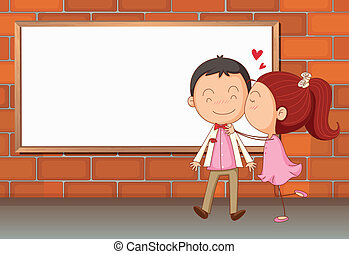 Lovers in front of an empty wooden board