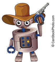 A toy robot holding a gun