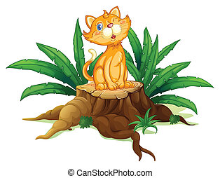 A cat sitting on a stump with leaves