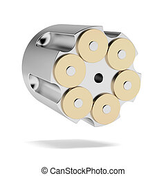 Full Revolver Cylinder isolated on a white background