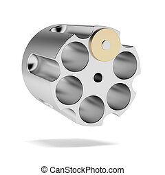 Revolver cylinder with one bullet isolated on a white...