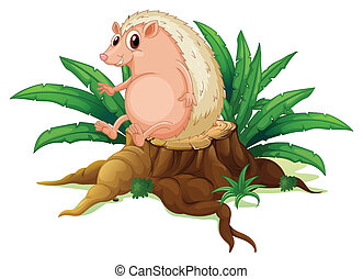 A molehog sitting on the stump with leaves