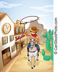 A cowboy riding in a horse holding a rope